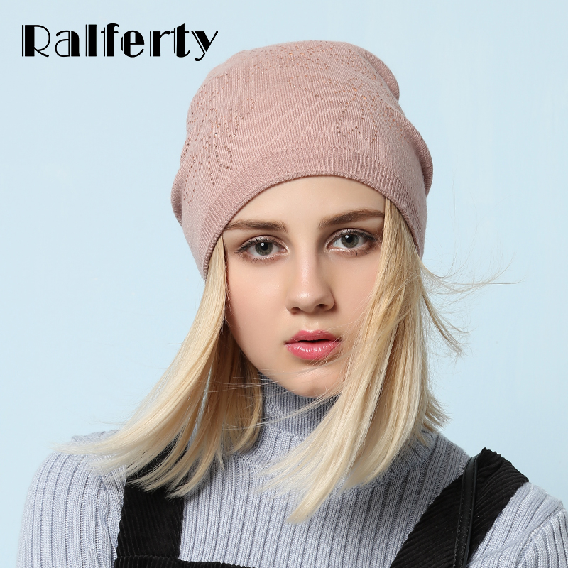 Ralferty Elegant Women's Winter Hat knitted Bow Crystal Beanies Skullies Female Casual Ski Caps Thick Gorros Bonnet Double Layer skullies
