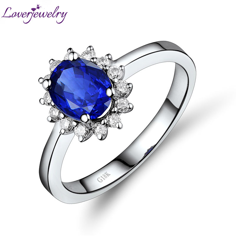 Loverjewelry Natural Genuine Sapphire Ring Real 18Kt White Gold Simple Design for Girl Birthday Wholesale Jewelry
