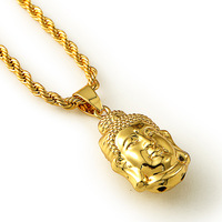 Buddhism Jewelry 18k Yellow Gold Filled Buddha Pendant Necklace With Twisted Singapore Chain Hip Hop Necklace