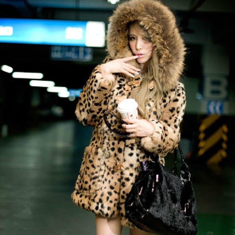 Savabien 2019 зимнее меховое леопардовое пальто из искусственного меха с капюшоном винтажная куртка из искусственного меха с длинным рукавом в с