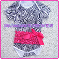 6pcs/lot free shipping toddler short sleeve romper jumpsuit cotton infant romper zebra with hot pink ruffle diaper suit for baby