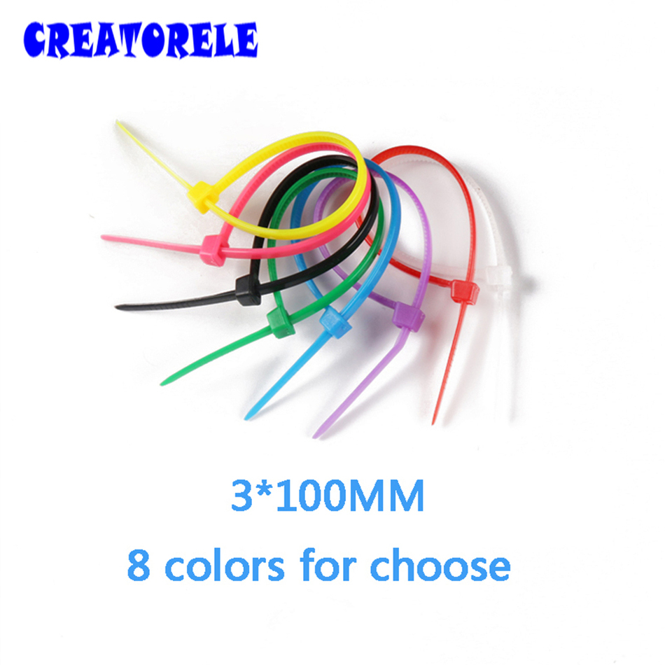 3*100 mm 100pcs/Bag and 8 colors for choose colorful velcro nylon cable ties cable wire tie plastic tie zip ties