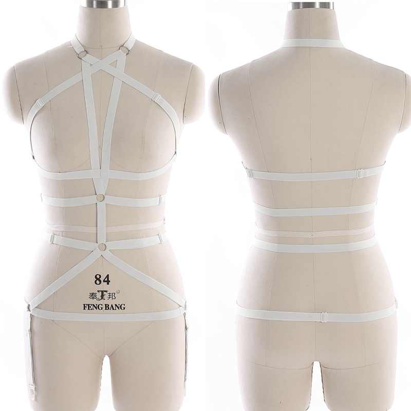 Body Harness Set Belt For Women Garter Strap Harness Women White Tops Cage Bondage Bra Elastic Sex Goth Festival Rave Dance Wear