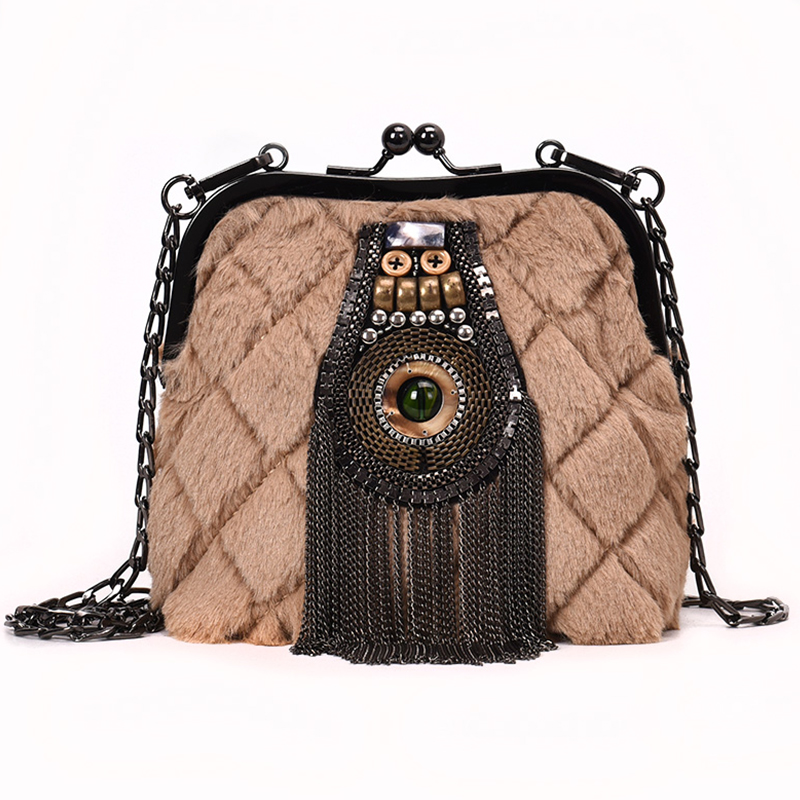 Ladies Vintage Handbags Kiss Lock Tassel Wool Messenger Crossbody Bags for Women 2019 Chains Shoulder Frame Bag sac main femme