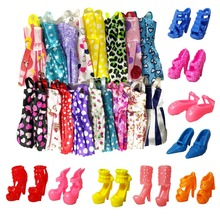 new 20 PCS set Handmade Party 12 Clothes Fashion Mixed style Dress 8 Pair Accessories Shoes