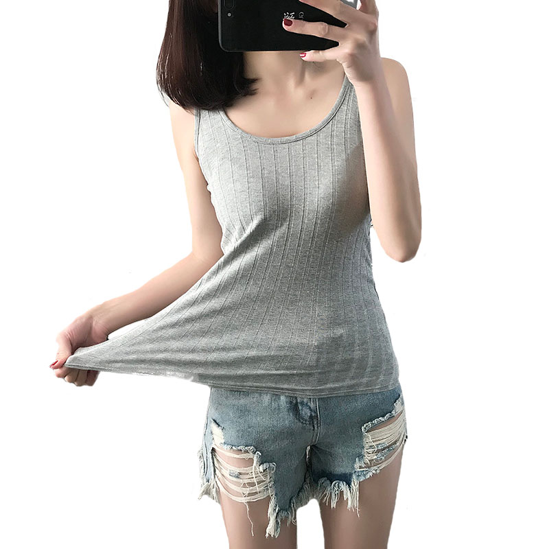 Basic Ribbed Tops Womens Tank Tops 2018 New Cotton Stretch Sleeveless Ladies Women Vest Tank Tops Tee Shirt T-Shirt