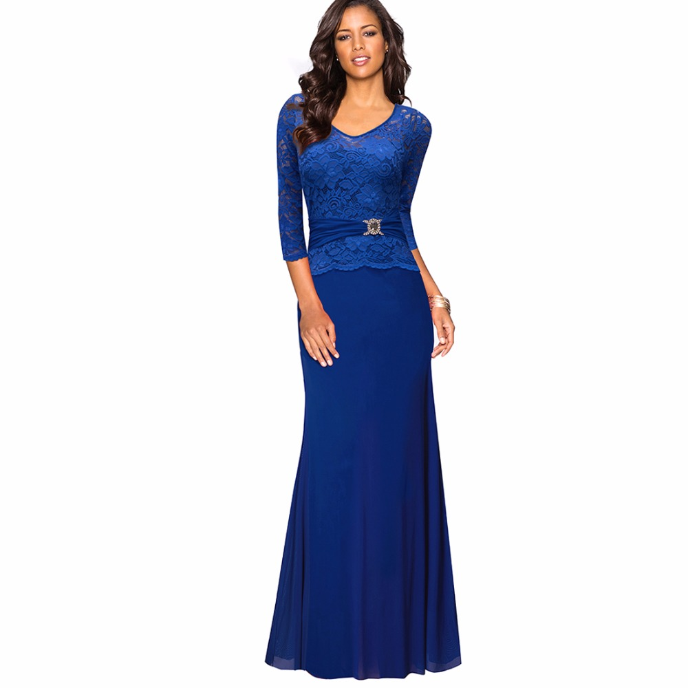 Elegant V Neck Flroal Lace Scalloped Peplum Long Maxi Dress Women Sexy Evening Gown For Special Occasion EA026