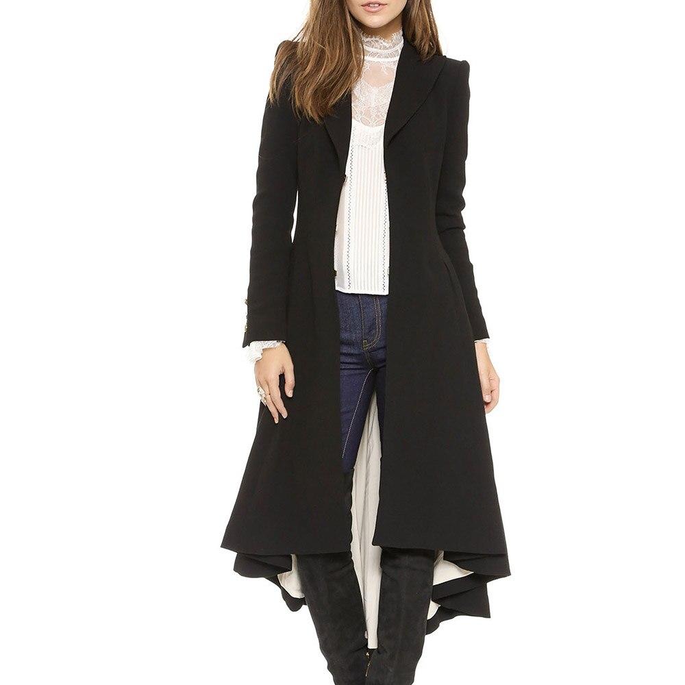 Kinikiss Long manteau de laine femmes queue d'aronde revers tenue de bureau hiver chaud Skinny dames Simple élégant décontracté pardessus