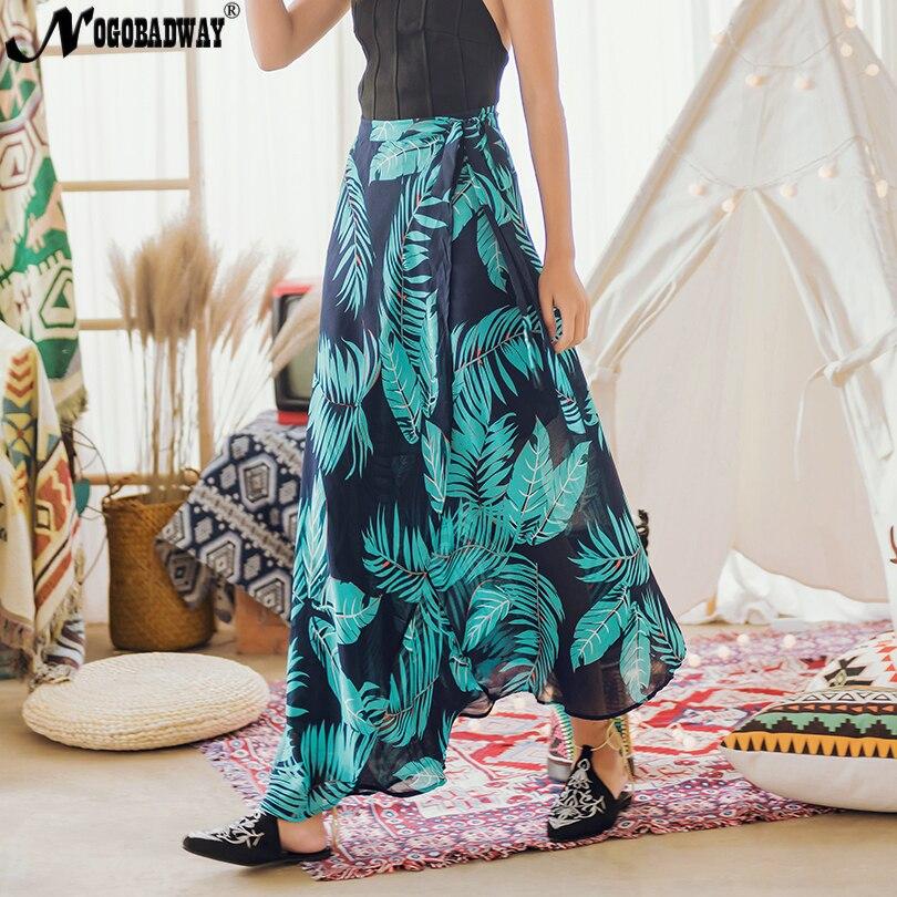 c1f4d5b29eed Print chiffon long wrap skirts women summer 2019 maxi skirt split beach  boho bohemian skirt ladies
