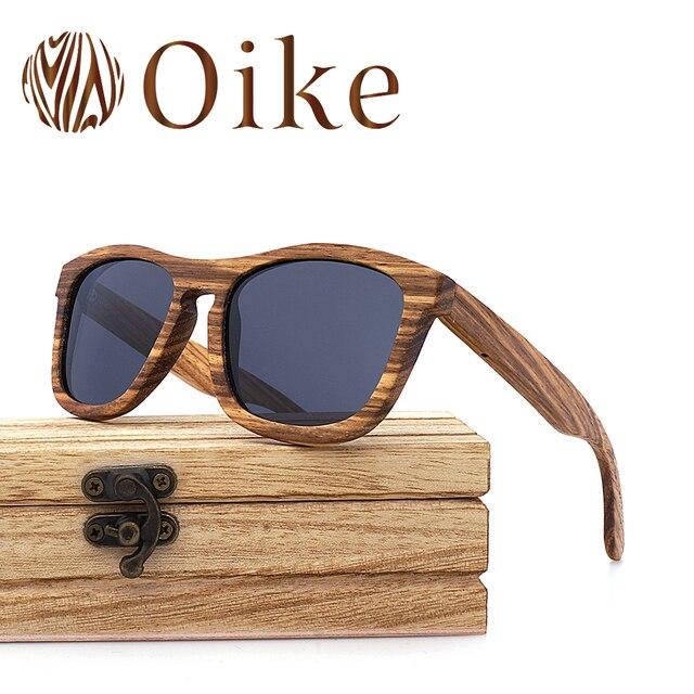 6338c447f OIKE Sunglasses Women Men oculos de sol feminino Polarized Bamboo Zebra  wood 2018 pilot Festival Sonnenbrille square sunglasses
