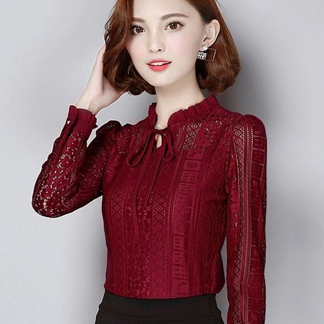 6004a71b97e Drawstring New Arrival Women Clothing Korean Women Elegant Vintage Female Shirt  Plus Size Long Sleeve Black Lace Chiffon Blouse