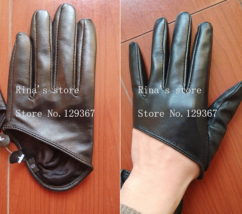 Autumn And Winter Women's Short Design Sheepskin Gloves Thin Genuine Leather Gloves Half Palm Black Glove 8 Colors R025