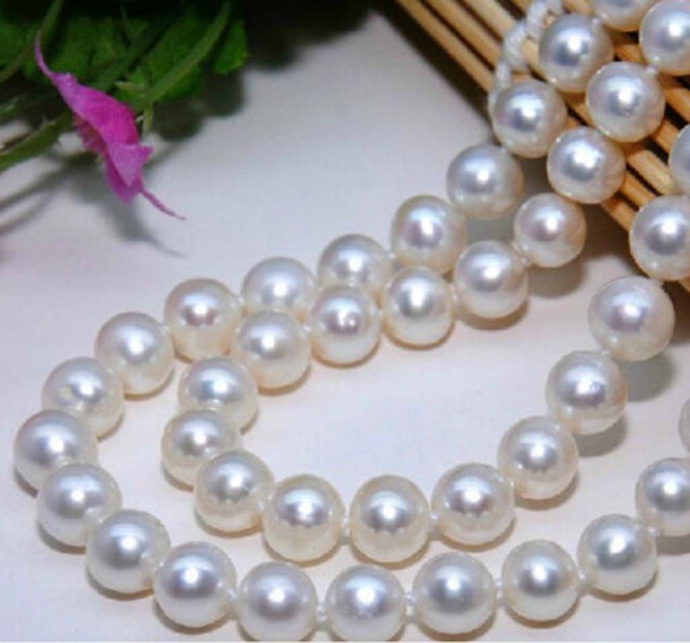 Precious Elegant 8-9mm real White Akoya Cultured Pearl Necklace 18AAAPrecious Elegant 8-9mm real White Akoya Cultured Pearl Necklace 18AAA