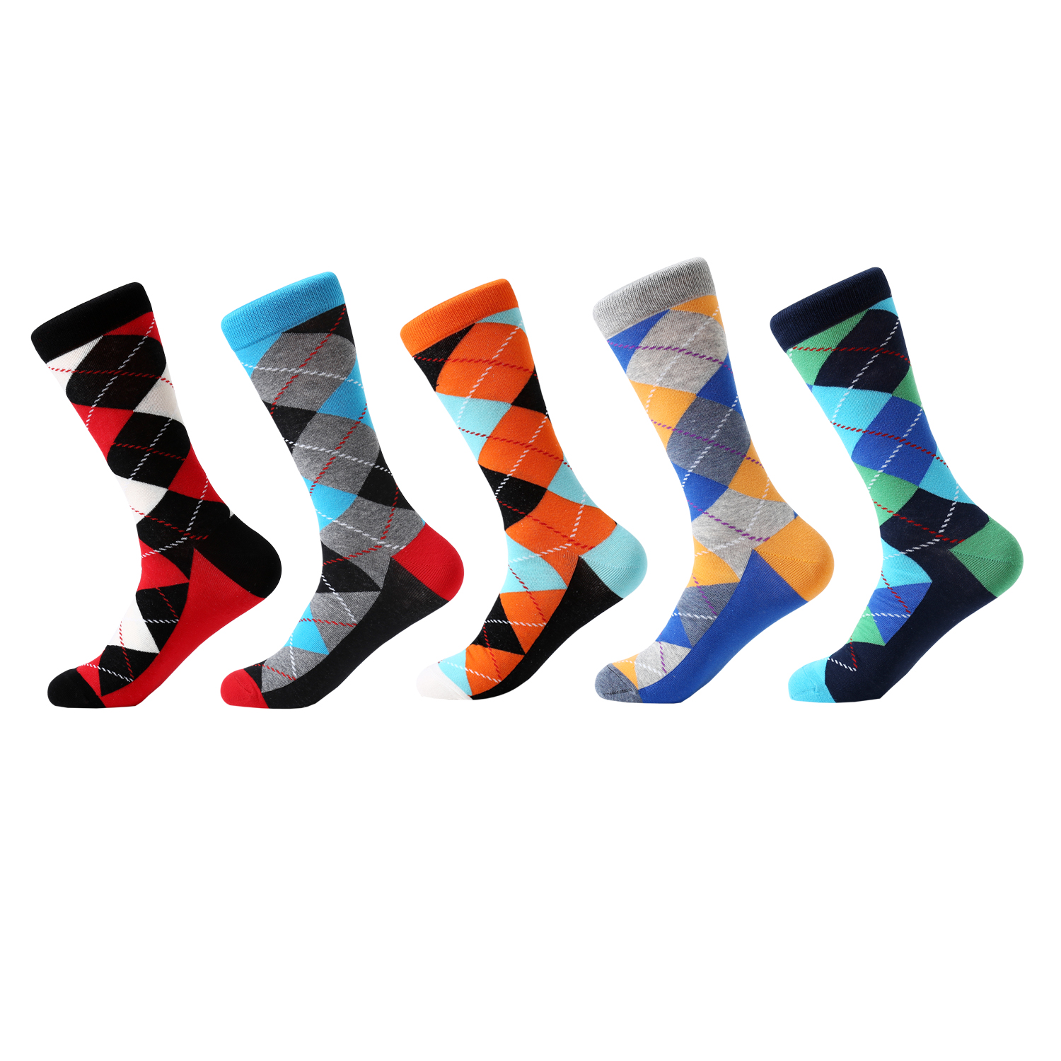 LETSBUY 5 pair/lot mens socks cotton diamond geometric pattern colorful funny socks long tube for men casual business dress soc