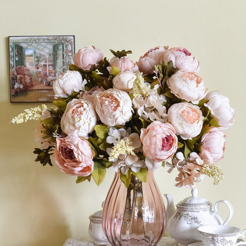 1 Bouquet Silk Flower European Artificial Flowers Bridal Decor Fall