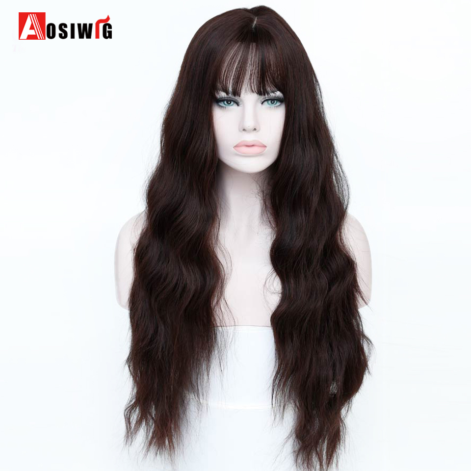 26'' Long Wavy Brown Wigs Heat Resistant Synthetic Female Wigs For Women Fake Hair Pieces AOSIWIG