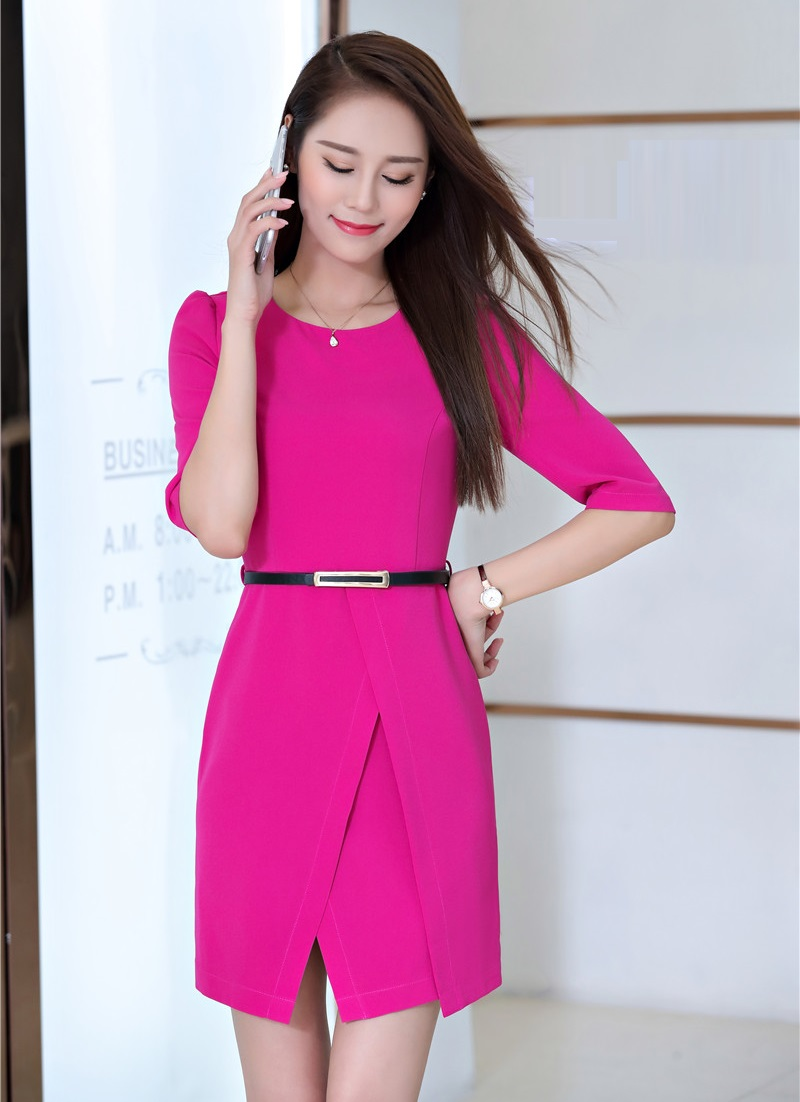 Новый 2018 Летний стиль модные женские туфли красные платья с коротким рукавом женские офисные работа платье с поясом женской одежды