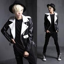 Black white splice stand collar leather jacket men leather jackets and coats motorcycle england brand-clothing dance M – XL