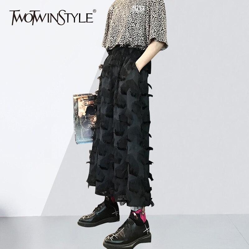 Twotwinstyle кисточкой Лоскутная юбка Для женщин Высокая талия карман черные длинные линии Юбки для женщин 2018 Весенняя мода Harajuku Костюмы