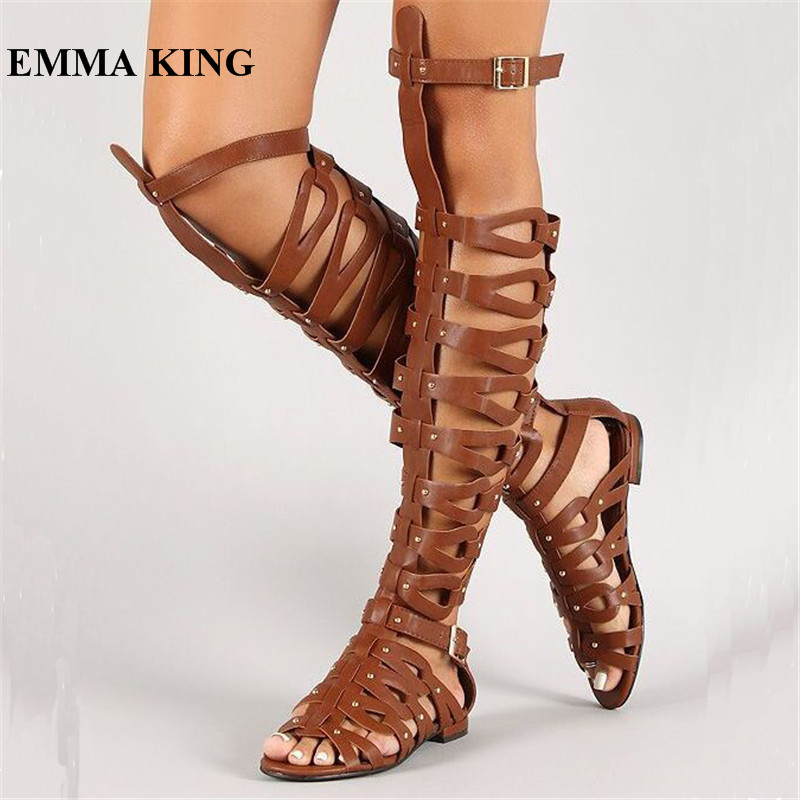 EMMA KING Rome Brown Women Summer Sandals Flat With Comfort Knee High Boots Vintage Beach Open Toe Cut-Out Gladiator Boots WomenEMMA KING Rome Brown Women Summer Sandals Flat With Comfort Knee High Boots Vintage Beach Open Toe Cut-Out Gladiator Boots Women