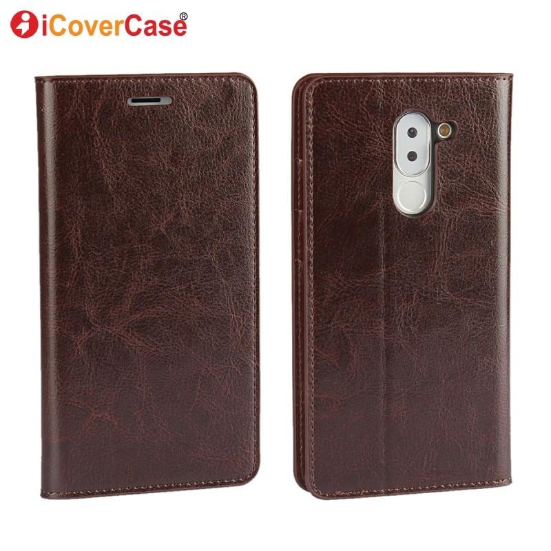 imágenes para Para Huawei Honor 6X Caso Cubierta de la Carpeta Del Tirón Casos de Cuero Genuino para Huawei Mate 9 Lite GR5 2017 Honor 6X2016 Coque Fundas