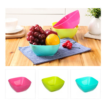 Keythemelife 1pcs Eco-friendly  Plastic Square fruit salad bowl Candy Bowl Food Fruit Dessert Container Bowl CA