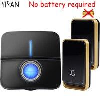 YIFAN New Wireless Doorbell NO Battery Waterproof EU Plug Led Light Home Gate Door Bell Chime