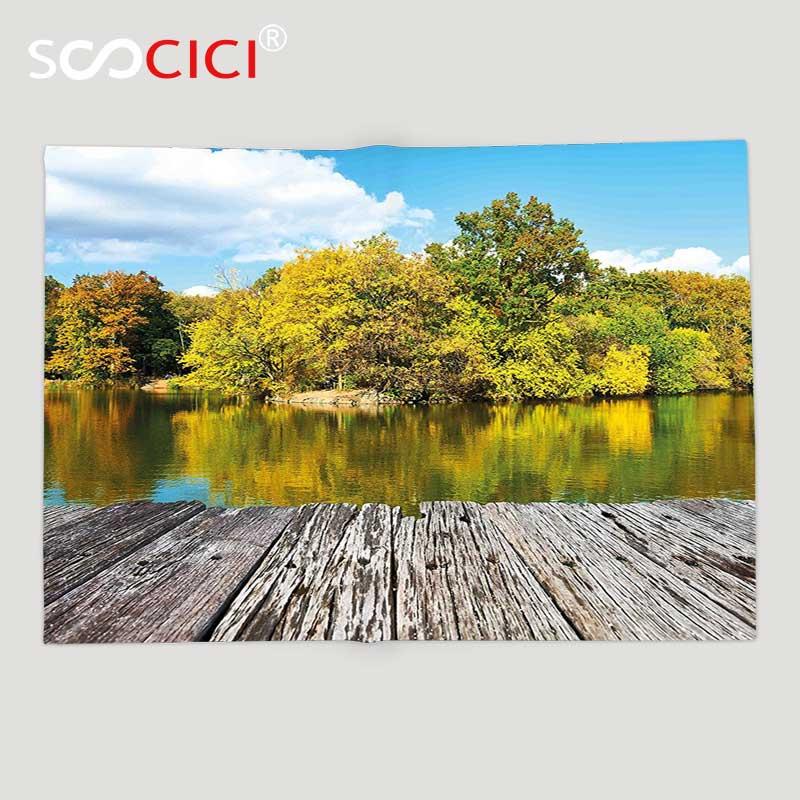 На заказ мягкий флисовый плед пейзаж Нью Йорк Центральный парк в осенний день рядом с заливом с рекой небесно голубой зеленый