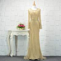 Sexy Champagne Dubai Beading Vestidos De Festa See Through Tulle Mermaid Formal Long Evening Dresses With Sleeve Prom Party Gown