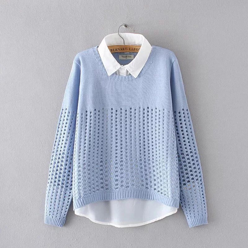 New Plus Size Women Shirt Collar Fake Sweaters Spring And Autumn Pullovers  Long Sleeve 2017 New Fashion 4XL Ladies Clothing