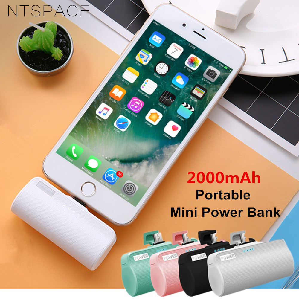 2000mAh For Xiaomi Redmi LG Mini Power <font><b>Bank</b></font> Pack External <font><b>Battery</b></font> Charging <font><b>Case</b></font> For <font><b>iPhone</b></font> Samsung Portable Mini Cute Powerbank image