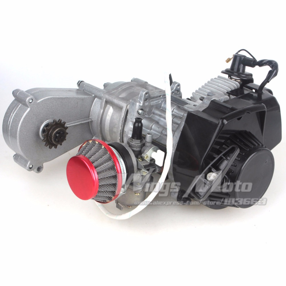 49cc 2-stroke Pocket Mini Dirt Bike ATV Engine with Gear Box 14T T8F Sprocket Electric Star Version Racing Air Filter