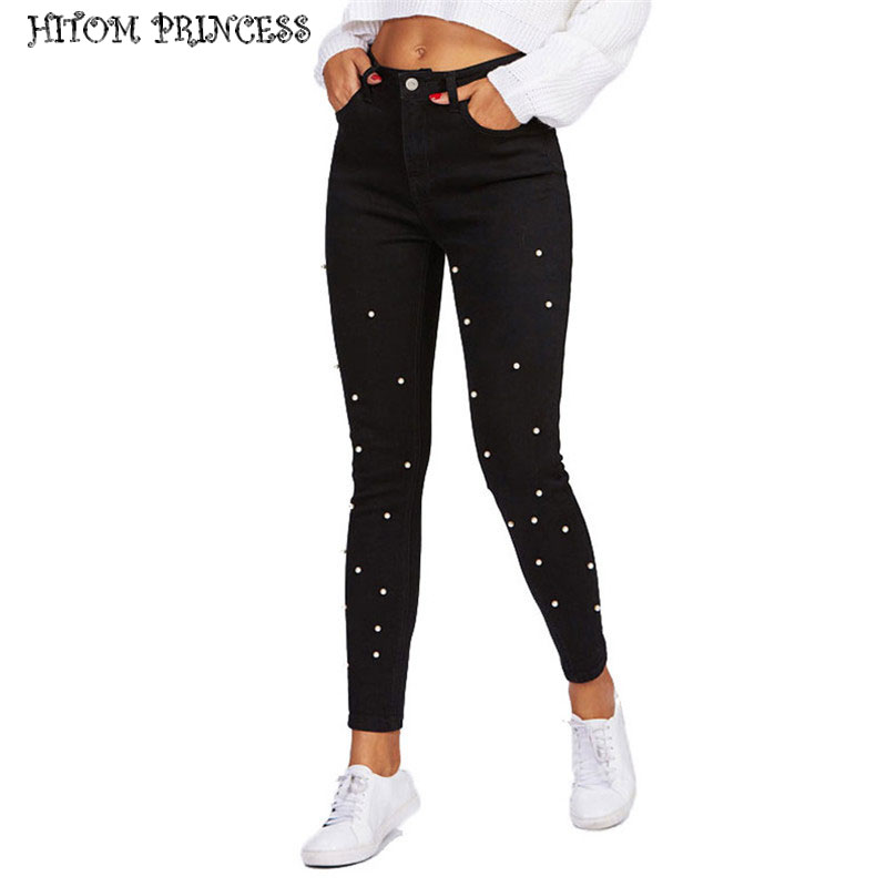 HITOM PRINCESS High Waist   Jeans   Woman Denim Pants Pearl Beaded Stretch Skinny   Jeans   For Women Brief Black Pencil   Jeans   Femme