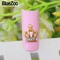BlueZoo 10 unidades/pacote Ouro Crown Alloy 3D Nail Art Decorações Glitter Limpar Pedrinhas Para Unhas Materiais Para A Arte Do Prego