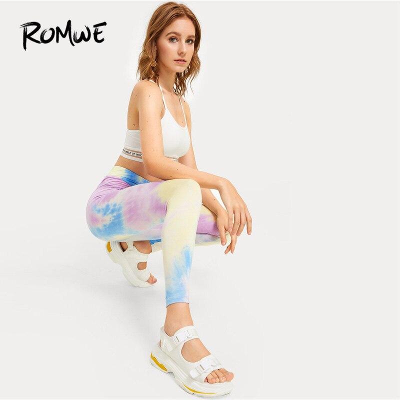 ROMWE Wide Band Waist Multicolor Tie Dye Casual Crop Leggings Women 2019 Female Sports Athletic Leggings