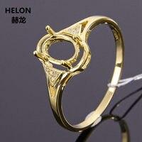 Solid 14k Yellow Gold Natural Diamonds Women Engagement Ring 5x7mm Oval Cut Semi Mount Wedding Ring Setting