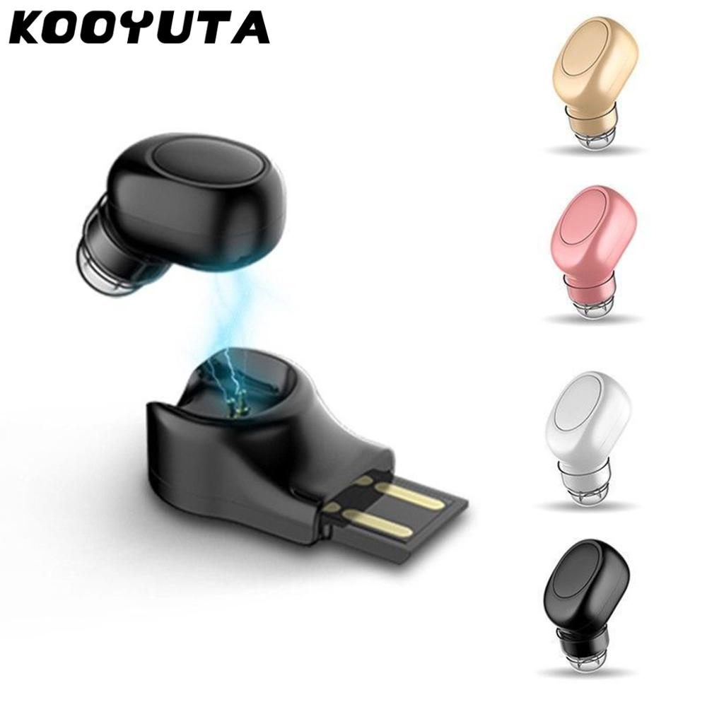 KOOYUTA Mini Bluetooth Wireless Earbud Car Bluetooth Headphone with Mic Ear hook Invisible Headsets USB Charger seat Auriculares