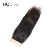 HCDIVA 100% Non Remy Human Hair 8″-18″ Straight Free Part Lace Closure(4*4) Can Be Dyed And Bleached Brazilian Hair