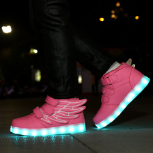 Children Shoes Glowing Sneakers Led Slippers Basket Kids Light Up Infant Luminous Boy girl