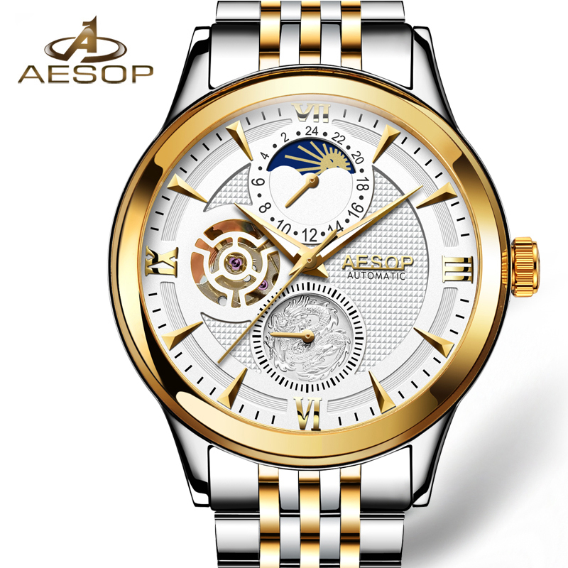 AESOP Men Watches Men Automatic Mechanical Wristwatch Brand Gold Male Clock Stainless Steel Waterprook Relogio Masculino Box 27 aesop business watch men automatic mechanical wristwatch brand male clock steel strap waterproof shockproof relogio masculino 27