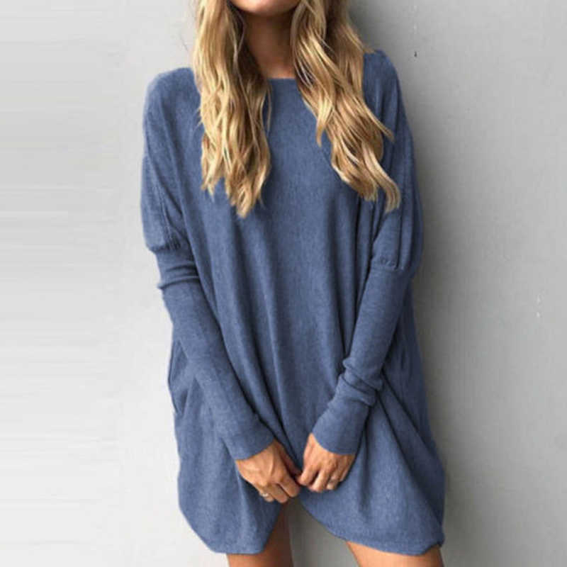 New Women Long Sleeve T-shirt Casual Solid O-Neck Loose Basic Shirts Batwing Sleeve Long Pullover Comfortable T-shirt Plus Size