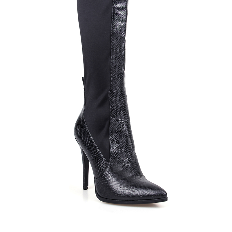 Suede Genou Talons Cuisse Aiguilles 2019 Le Hauts En Stretch Femmes Printemps Sur Chaussures Sexy Femme Noir Bottes Marque Cuir Pour qtppWgwS4C