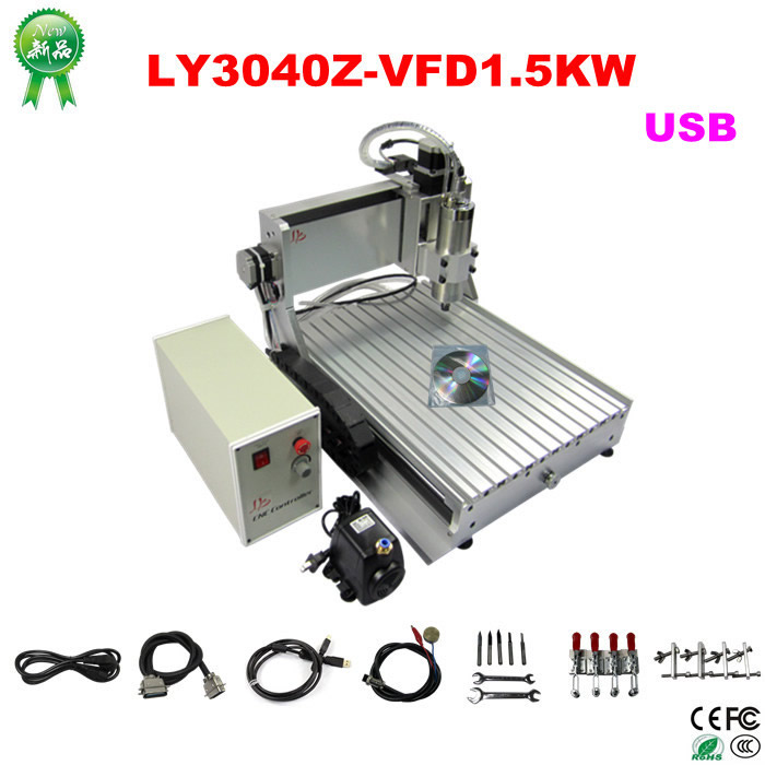 CNC Router wood Milling Machine CNC 3040Z-VFD1.5KW USB 3axis with ball screw for woodworking 2 2kw 3 axis cnc router 6040 z vfd cnc milling machine with ball screw for wood stone aluminum bronze pcb russia free tax