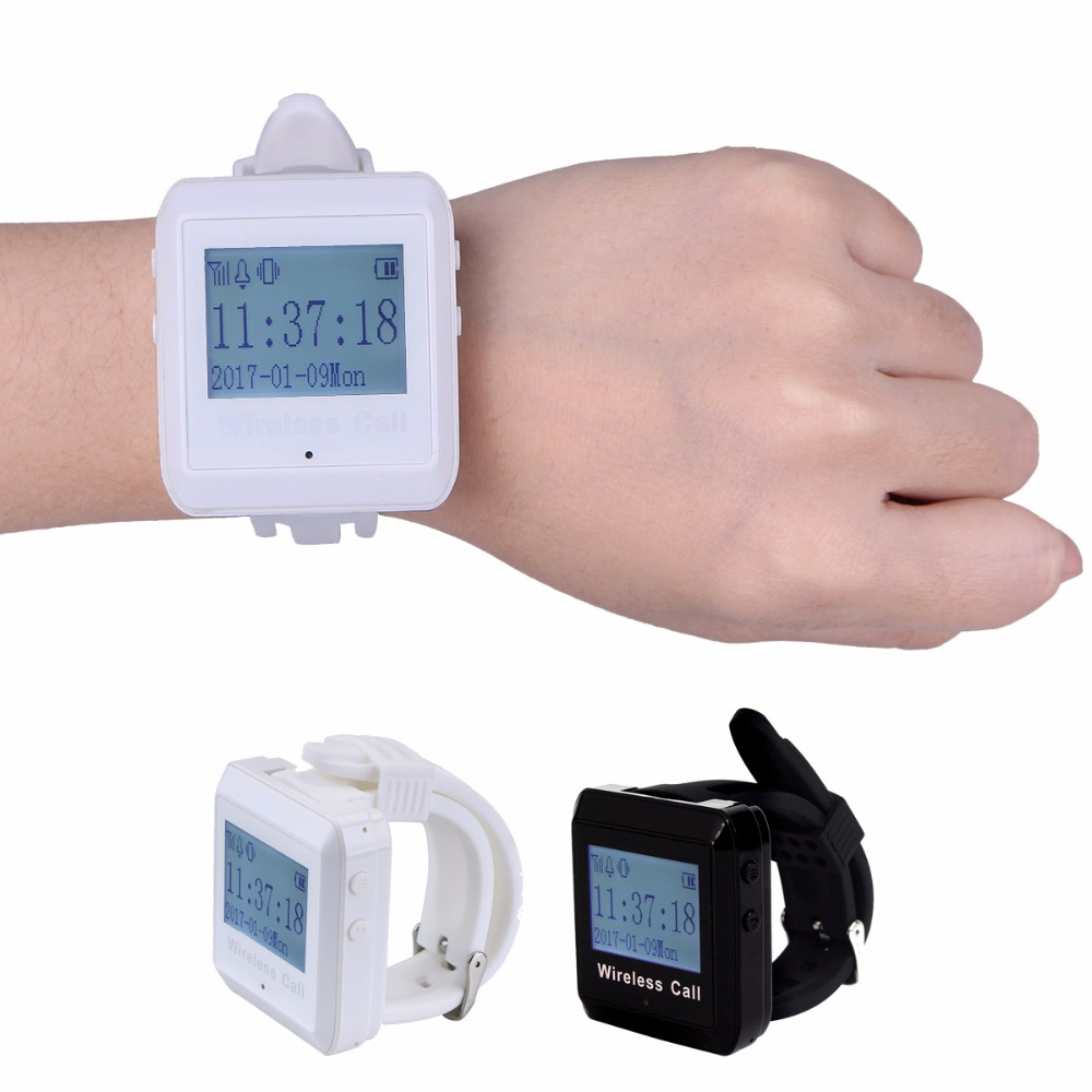 433MHz Wireless Calling Paging System Watch Pager Receiver Host Guest Waiting Pager for Restaurant Bank Equipment F3258 guest pager for wireless restaurant paging system 15 buzzer button h3 wy and 1 wireless receiver p 200cd one year warranty time
