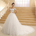 Don's Bridal 2016 Ball Gown Bride Gowns Short Sleeve Custom Scoop Neck Lace Appliques Sexy Wedding Dresses