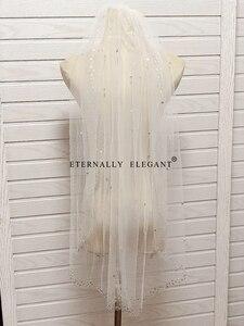 Image 4 - Voile De mariée, 2018, magnifique court, avec peigne, en dentelle, perlée, accessoires De mariage, blanc/ivoire, MD96