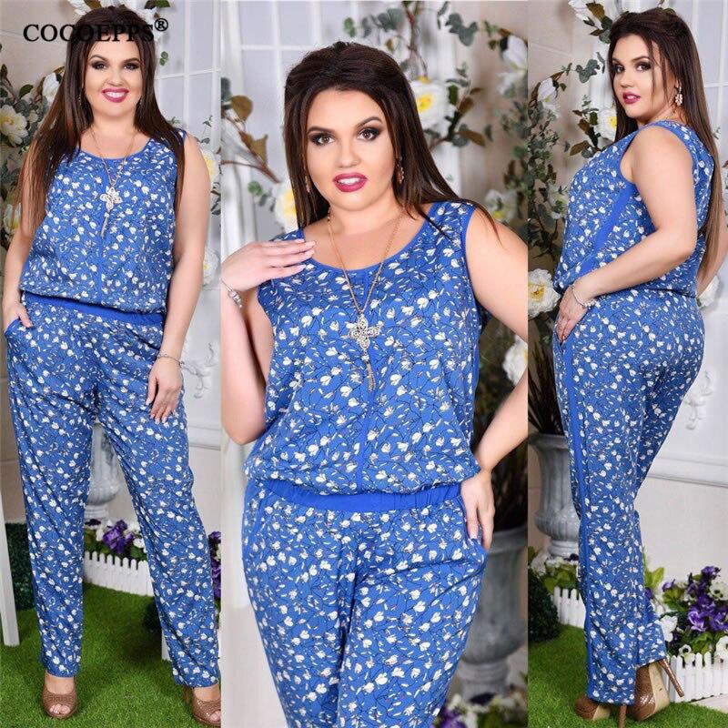 5XL 6XL 2019 Plus Size Casual Women Jumpsuit Summer Flower Print Sleeveless Romper Big Large Size Jumpsuit Fashion Long Jumpsuit