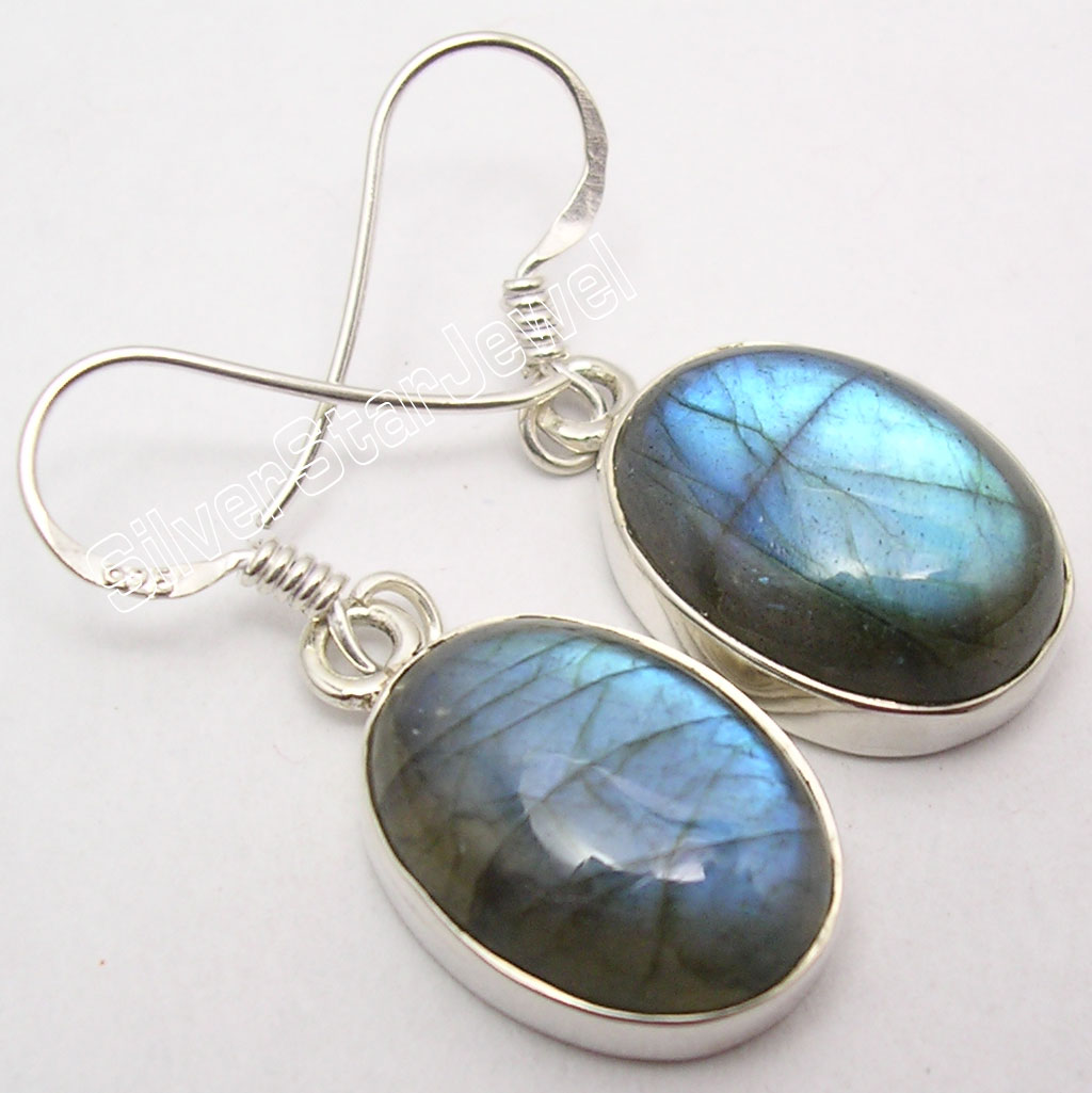 Silver Natural BLUE FLASH LABRADORITE Big Sparkling Earrings 3 3 CM