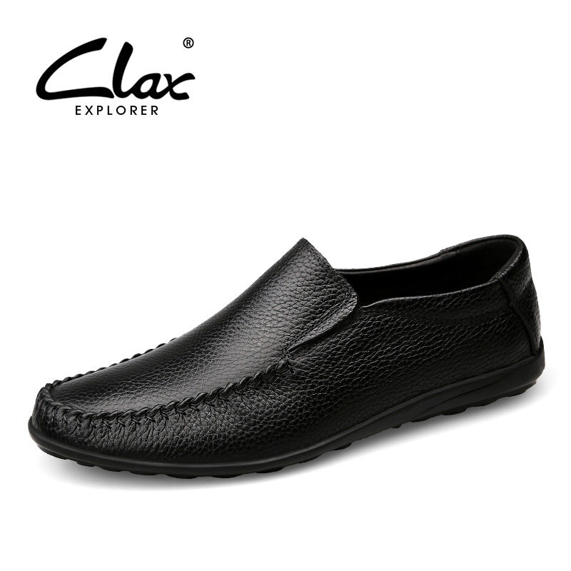 CLAX Men Black Dress Shoes Slip on 2017 Autumn Loafers for Male Wedding Shoe Genuine Leather