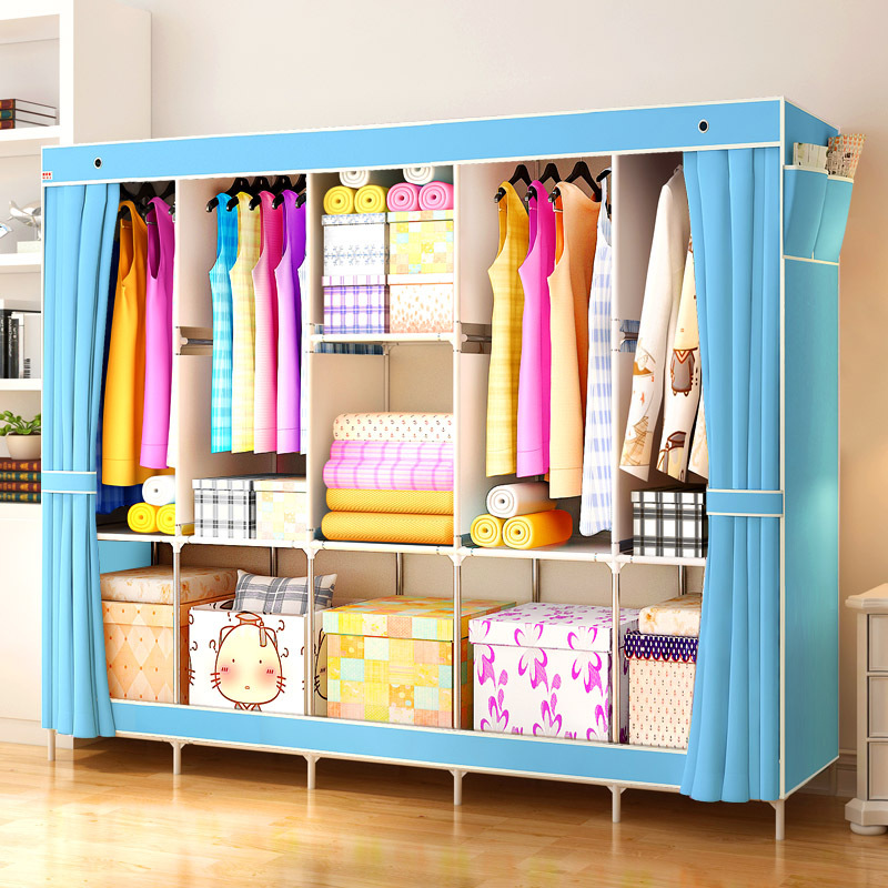 Non-woven Cloth Wardrobe Steel Pipe Thicken Reinforcement Wardrobe Closet DIY Assembly Fabric Clothing Storage Cabinet